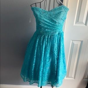 Blue prom Easter bridesmaid strapless dress